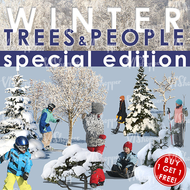Winter people and trees