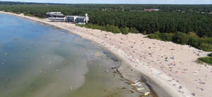 Aerial view of a beach in summer.