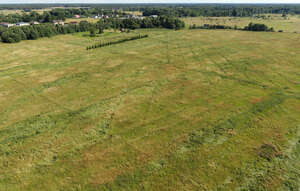 aerial view of large meadow in countryside