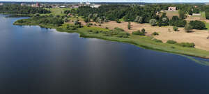 aerial view of a lake bank