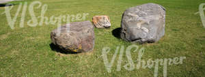 grass ground with three boulders