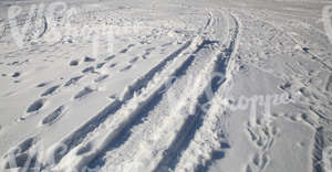 snow-covered ground with snowmobile tracks and footprints