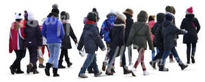 group of children walking in winter