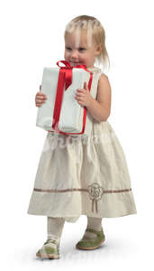 little girl in a white dress carrying a big gift box