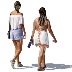 two women in summer clothes walking side by side