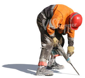 workman drilling with a jackhammer