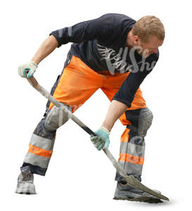 cut out worker shovelling