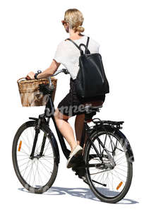 cut out woman riding a city bike