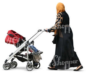muslim woman pushing a baby carriage