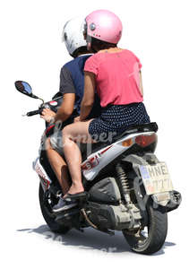 man and woman riding together a scooter