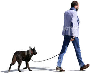cut out man walking a dog