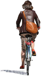woman wearing a leather jacket riding a bike