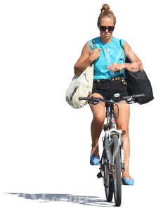 woman riding a bike with no hands