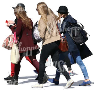 group of five teenage girls walking