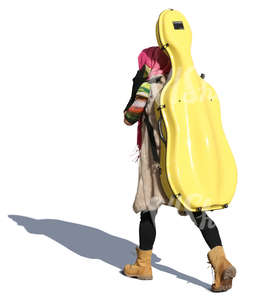 woman carrying a yellow cello case walking and talking on the phone