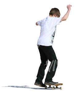 cut out boy riding a skateboard