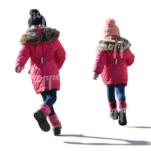 two girls in pink overcoats running around