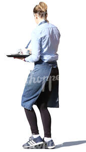 waitress walking with a tray