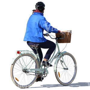 woman with a helmet riding a city bike