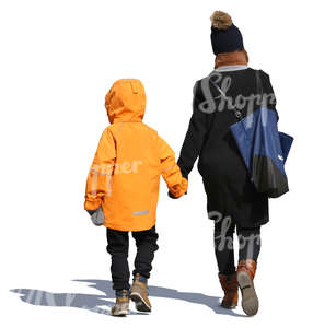 mother and child walking hand in hand