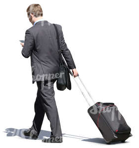 free cut out businesmann with a suitcase walking