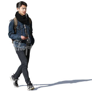 asian man walking in springtime