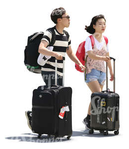 asian couple with backpacks and suitcases walking