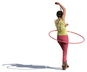 cut out woman spinning a hoop