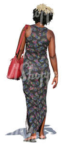 cut out african woman in a long dress walking