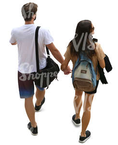 couple seen from above walking hand in hand