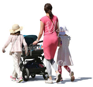 mother with her daughters and baby carriage walking