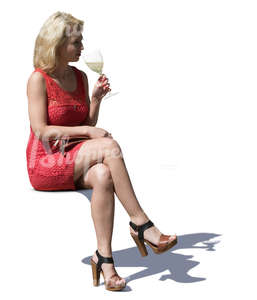 woman sitting in a cafe and drinking wine