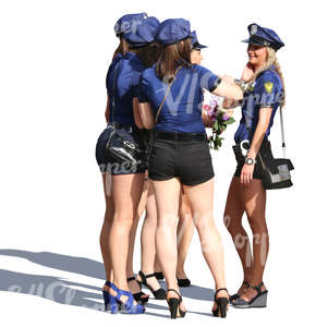 group of women in police costume standing together