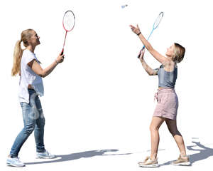 two women playing badminton