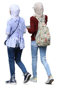 two young muslim women walking