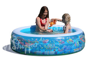girls playing in an inflatable pool