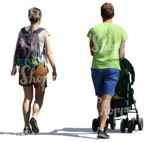 man and woman walking with a baby stroller