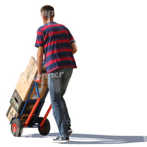 man pushing boxes on hand truck