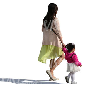 asian woman walking hand in hand with her small daughter