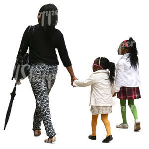 african woman walking with her two daughters