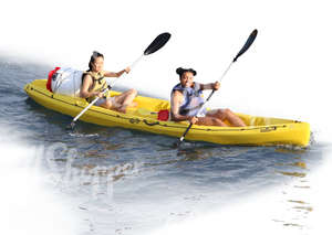 two women riding a canoe