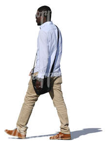 black man with sunglasses walking