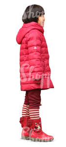 asian girl in a red winter coat standing