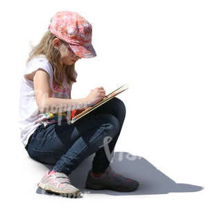 girl with a pink hat sitting and drawing