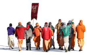 group of krishnaites walking in autumn
