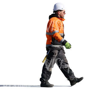 construction worker with a helmet walking