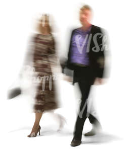 cut out motion blur couple walking