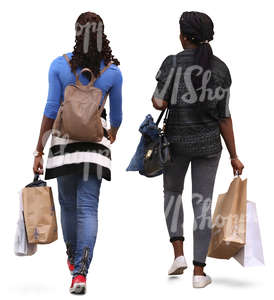 two african women with shopping bags walking