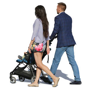 couple walking with a baby