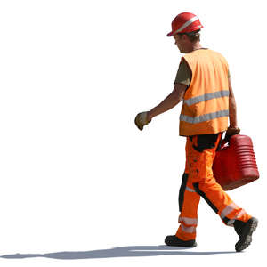 worker carrying a canister